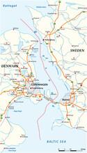Vector Map Of The Oresund Waterway Between Sweden And Denmark