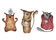 Tea Party With Cute Cats Clip Art Watercolor