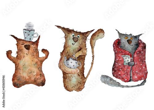 Tablou Canvas tea party with cute cats clip art watercolor