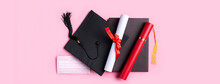 Graduation Academic Cap With Diploma And Mask Isolated On Pink Table Background.