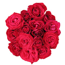 Beautiful Bright Red Roses Bouquet Isolated On White Background Top View.