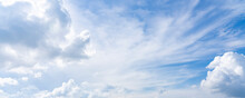 Blue Sky Background With Clouds. Bright Natural Sky