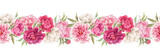 Beautiful seamless floral horizontal pattern with hand drawn watercolor gentle pink peony flowers. Stock illuistration.