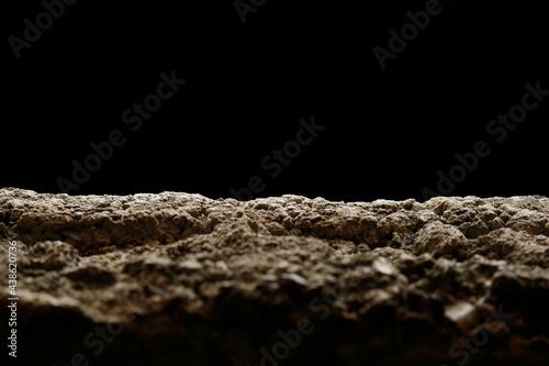 Carta da parati Ground texture and black sky , Sand and earth soil backgournd