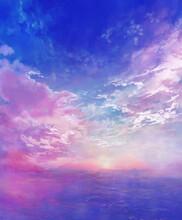 夏の空と海の風景のイラスト(朝焼け)
