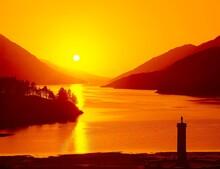 Scotland, Loch Shiel, Shore, Monument, Charles Edward Stuart, Sunset, Lake, Highlands, Glenfinnan, Statue, Pillar, Sight, Dusk, Orange, Colour Mood, Evening Mood,