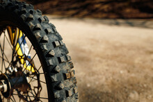 The Front Wheel Of Motocross Close Up