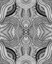 Bohemian Ornamentals Psychedelic Coloring Page, Black Ink Outline, Isolated On White Background.