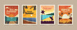 Summer tropical cards. Vacation posters in retro style. Backgrounds with summer tropical leaves, landscapes, sunsets and nature graphics