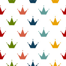 Simple Seamless Pattern With Crowns. Background For Little Princess.