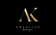 Golden AK A K Letter Design Logo Logotype Concept With Serif Font And Elegant Style. Vector Illustration Icon With Letters A And K,