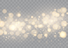 Shining Bokeh Isolated On Transparent Background. Golden Bokeh Lights With Glowing Particles Isolated. Christmas Concept