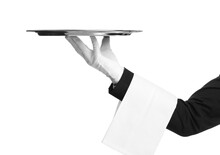 Elegant Butler Holding Silver Tray Isolated On White, Closeup