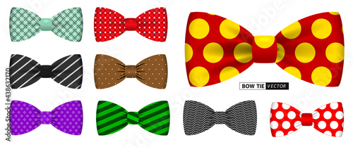 Obraz na plátně set of realistic polka dot bow tie or bow tie men suit for office uniform or various bow tie color clothing concept