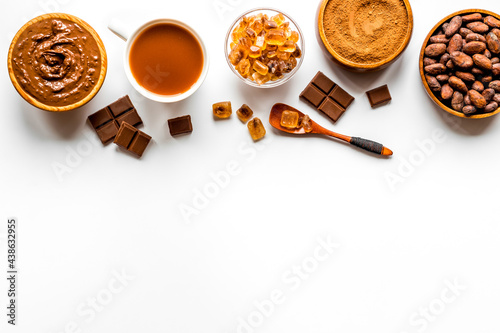Fotografiet Background with assorted coffee and cocoa - beans with powder and hot drink