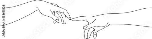 Fotografia Michaelangelo creation of adam, adam and god hand, line art, vector drawing illu