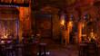 Leinwandbild Motiv 3D Rendering Medieval Tavern