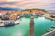 Leinwandbild Motiv Old Venetian harbor of Rethimno, Crete, Greece