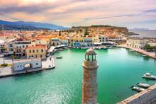 Old Venetian Harbor Of Rethimno, Crete, Greece