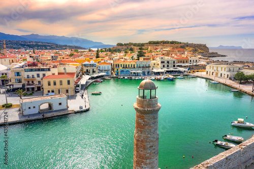 Canvas Print Old Venetian harbor of Rethimno, Crete, Greece