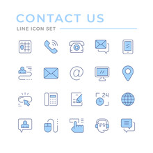 Set Color Line Icons Of Contact Us