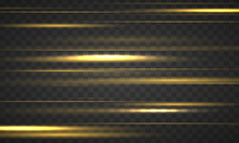 Set Of Yellow Horizontal Rays, Lens, Lines. Laser Beams Luminous Abstract Sparkling Isolated On A Transparent Background. Light Effect. Sun Rays. Yellow Gold Line. Vector Illustration, EPS 10.