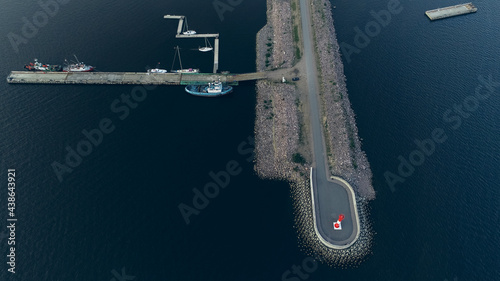 Fotografia Aerial view of Fort Grand Duke Constantine in Kronstadt, observation deck and yacht club, Gulf of Finland