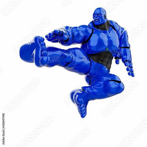 Fotografie, Obraz cyber monster is doing a kung fu jump kick