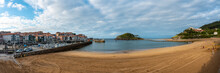 Panoramic Of The Island Of San Nicolas At Low Tide From Isuntza Beach In Lekeitioi, Landscapes Of Bizkaia. Basque Country