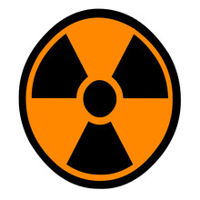 Orange Color Of Radiation Warning Sign On Isolated Background