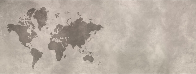 World map on concrete wall background. Horizontal banner