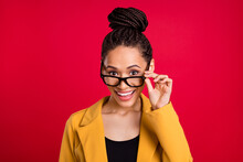 Photo Of Excited Millennial Lady Touch Eyewear Wear Yellow Cardigan Isolated On Vivid Red Color Background