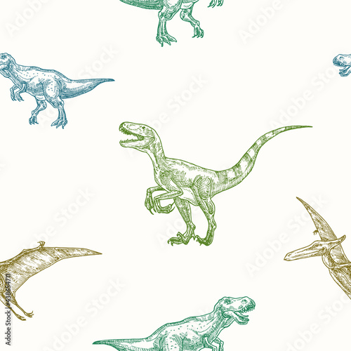 Canvas Hand Drawn Dinosaurs Vector Seamless Background Pattern