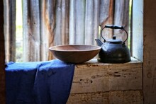 Wooden Bowl And Tea Kettle