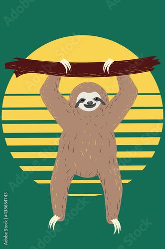 Fototapeta premium Cartoon yoga sloth