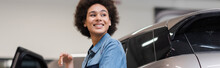Smiling Young African American Mechanic Standing With Near Car In Auto Repair Service, Banner