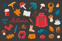 Set Of Vector Hand-drawn Autumn Elements In Warm Colors On A Dark Background Collection Of Isolated Seasonal Icons: Scarf, Leaves, Mushrooms, Berries, Jam, Sock, Shoes, Umbrella, Tea, Acorn, Nut.