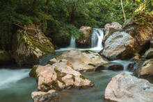 Beautiful Water Oasis With Clean Water Streams And Rocks Hidden In The Forest
