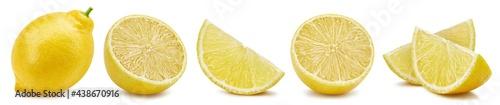 Lemon fruit. Whole and half lemon isolated on white background close-up.