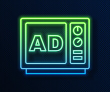 Glowing Neon Line Advertising Icon Isolated On Blue Background. Concept Of Marketing And Promotion Process. Responsive Ads. Social Media Advertising. Vector