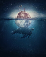 Surreal Scene With A Turtle, Huge Sea Creature, Carrying The Full Moon With A Lone Sailor On The Top. Fantasy Underwater Seascape, And Starry Sky Above. Magical Night View, Imaginary Sailing Adventure