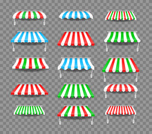 Awnings Of Different Shapes With Shadows. Striped Colorful Awnings For Shop. Outside Canopy From The Sun. Window Canopy.