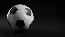Black And White Football Isolated On Black Background.