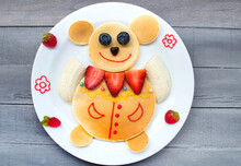 Mouse Or Bear Made Of Pancake With Strawberry And Fruit For Kids. Plate With Funny Pancake. Funny Breakfast Idea For Children.