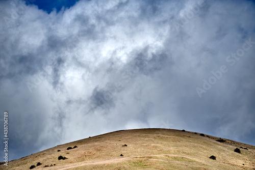 Canvastavla golden hillside under stormy sky