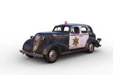3D Illustration Of A Rusty Dirty Old Vintage Police Car Isolated On White.