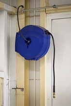 Plastic Blue Drum With Air Hose.