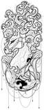 Czarno-biały ilustracja konia w stylu tatuażu. Projekt graficzny konia z bujną grzywą Kolorowanka