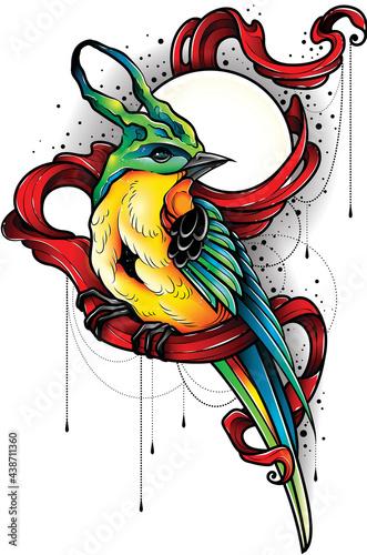 Ilustracja turkusowy ptak z żółtym brzuszkiem siedzący na czerwonej szarfie. Projekt tatuażu.