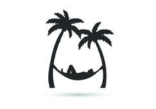 Hammock Icon In Glyph Style. Hammock Between Palm Trees In Black Color. Vector